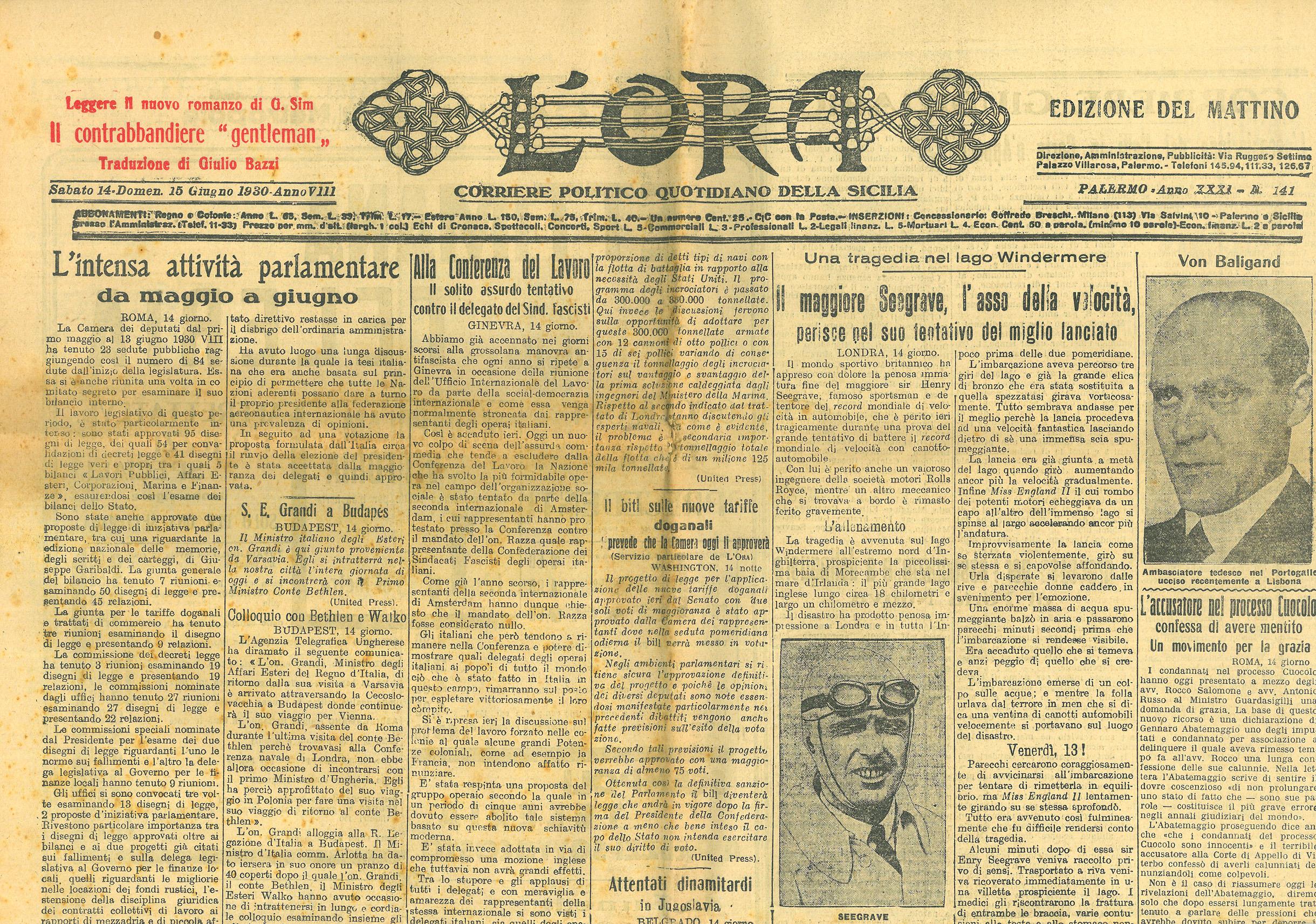 """Il contrabbandiere """"gentleman"""" di Giorgio Sim (Georges Simenon) – Sesta puntata in """"L'Ora"""", Anno XXXI, n.141, sabato 14 / domenica 15 giugno 1930"""