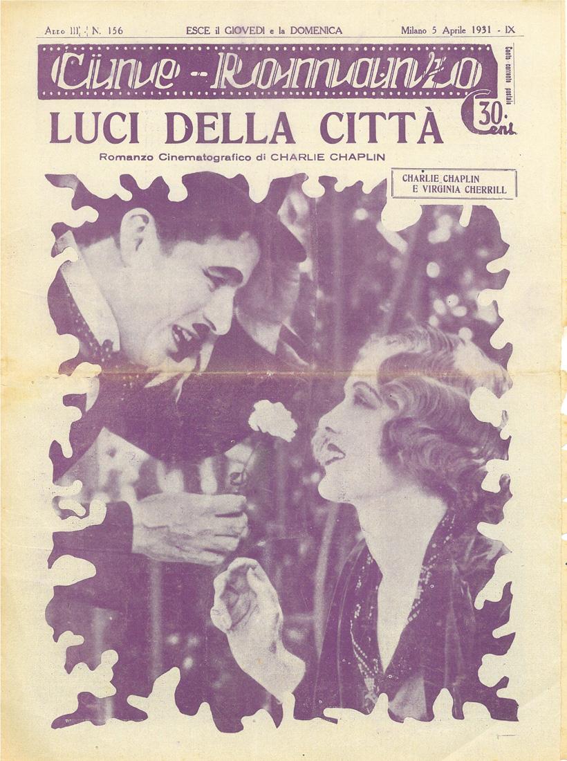 """Luci della città (City Lights) – Cineromanzo in """"Cine-Romanzo"""", anno III, n.156, 5 aprile 1931"""