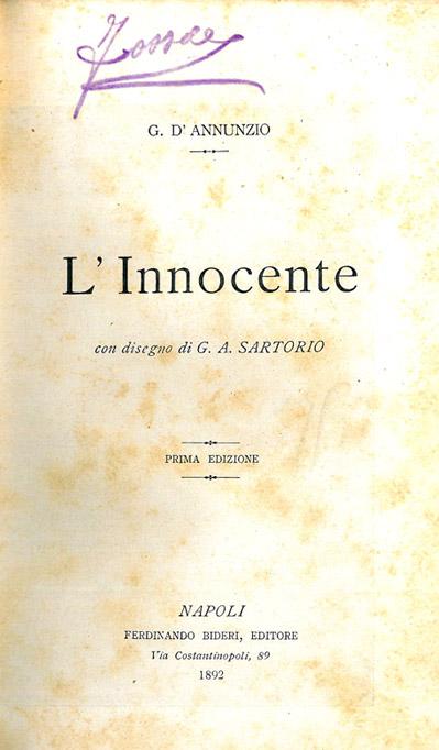 L'innocente – Romanzo – Prima edizione