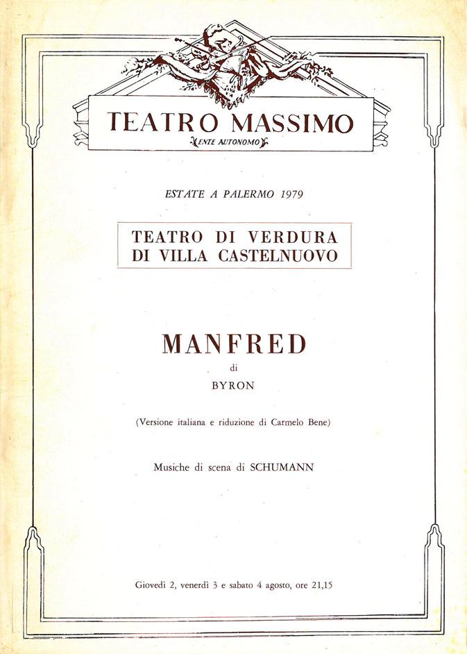 Manfred di Byron / Carmelo Bene – Brochure del Teatro Massimo di Palermo del 1979