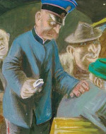 """Karl Hubbuch, """"The Ticket Conductor"""" (1930)"""