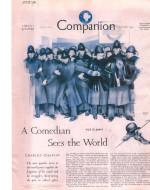 """Illustrazione di Shapi per la prima puntata apparsa su """"Woman's Home Companion"""" (settembre 1933) che ritrae una fila di """"Bobbies"""" chiamati a proteggere Chaplin al suo arrivo a Londra"""