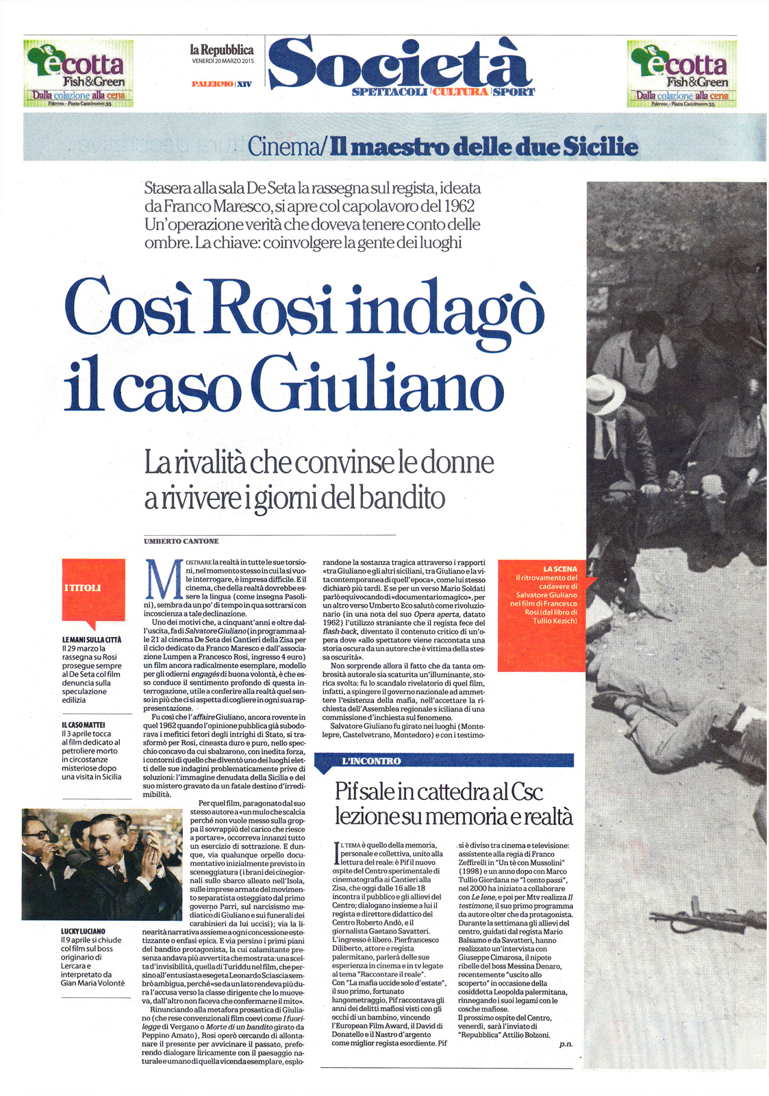 """Ricostruzione di un mistero – """"Salvatore Giuliano"""" di Francesco Rosi"""
