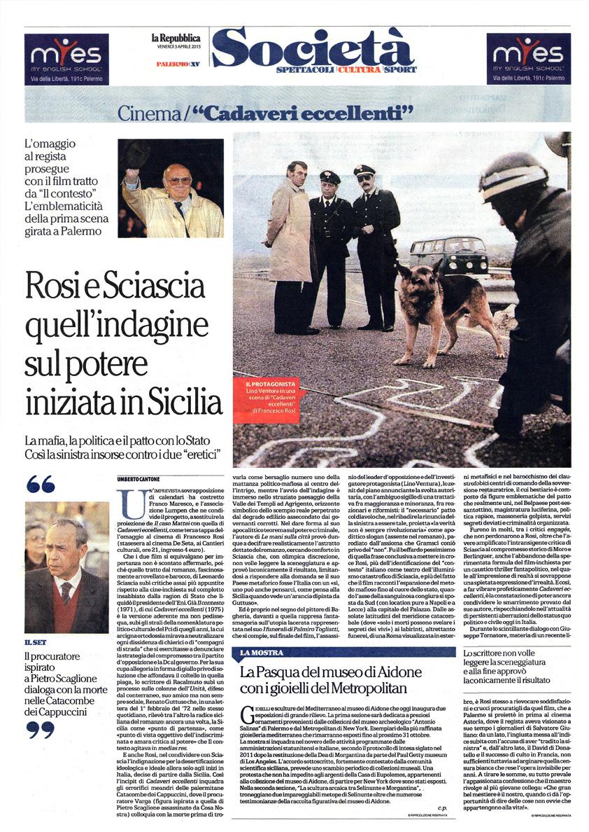 """""""Cadaveri eccellenti"""" – Rosi e Sciascia: quell'indagine sul potere iniziata in Sicilia"""