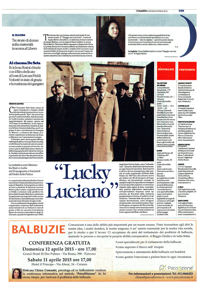 "Eccellenze criminali – ""Lucky Luciano"" di Francesco Rosi"