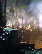 WILLARD avanza con un machete in mano mentre gli INDIGENI danzano sullo sfondo.