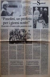 """Pasolini secondo Ronconi. Intervista a Luca Ronconi, in """"la Repubblica – Spettacoli"""", mercoledì 26 maggio 1993"""