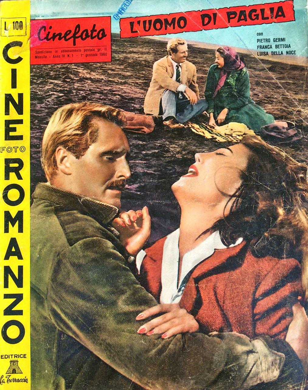 """L'uomo di paglia di Pietro Germi – Cineromanzo a fumetti in """"Cinefotoromanzo"""", Anno IV, n.1, 1 gennaio 1960"""