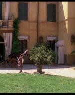 """Nel giardino di Villa Berlingheri, il vecchio Alfredo è infuriato. Urla contro casa sua. Contro il balcone.  //  ALFREDO: Hai sentito, disgraziata? I """"paisani"""" nascono prima dei figli dei padroni! Devo venire su io a tirarlo fuori?"""