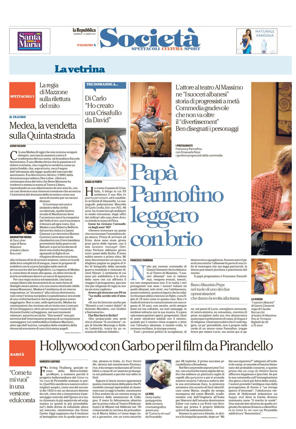 Hollywood con Garbo per il film da Pirandello