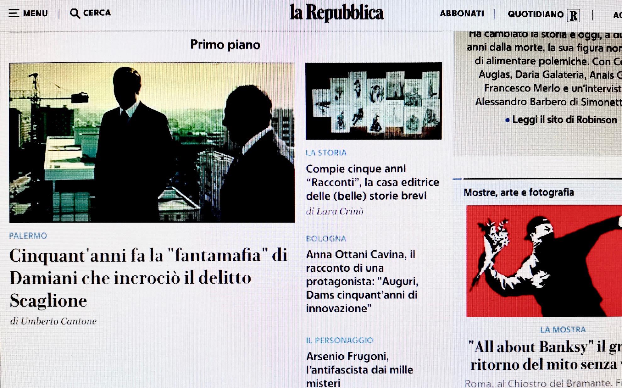"""50 anni fa la """"fantamafia"""" di Damiani che incrociò il delitto Scaglione, in la Repubblica/Cultura"""